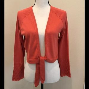 Tommy Bahama Silk Blend Crop Orange Sweater Large